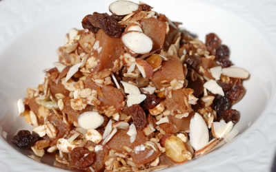 Apple Cinnamon Cobbler with Coconut, Walnuts, Almonds, and Raisins