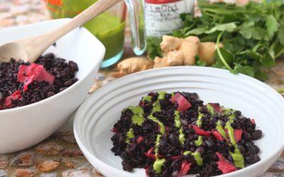 Black Rice Kimchi with Cilantro Ginger Cream