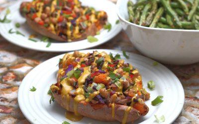 Rainbow Loaded Sweet Potatoes